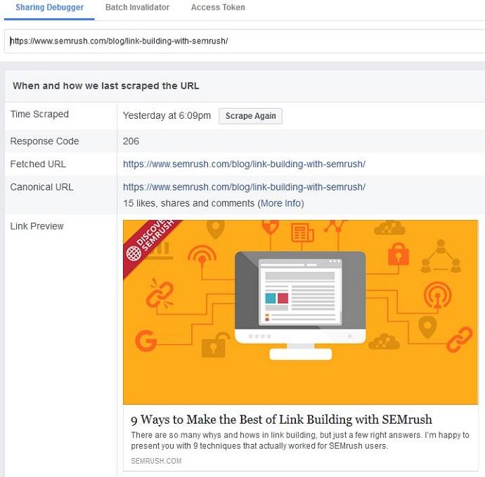 Facebook debugger tool example