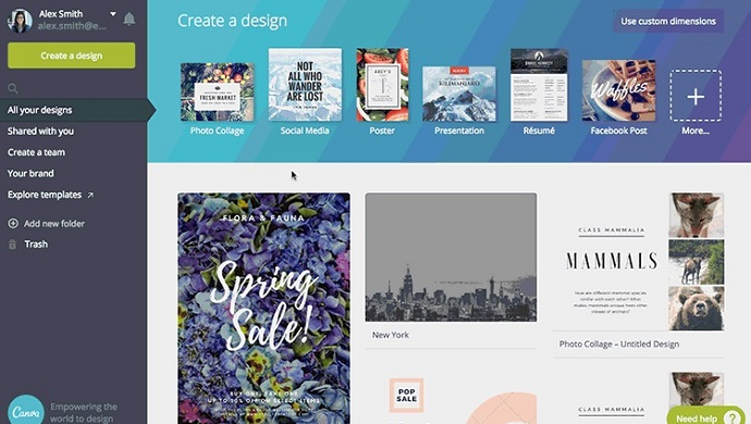 Canva design blogging tool