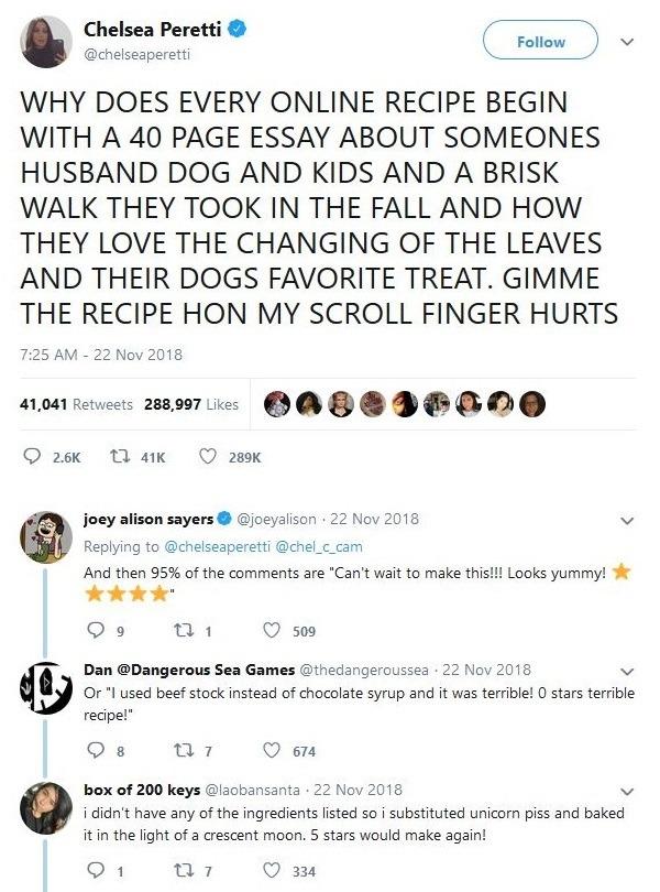 Recipe tweet