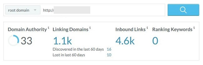 Moz domain overview