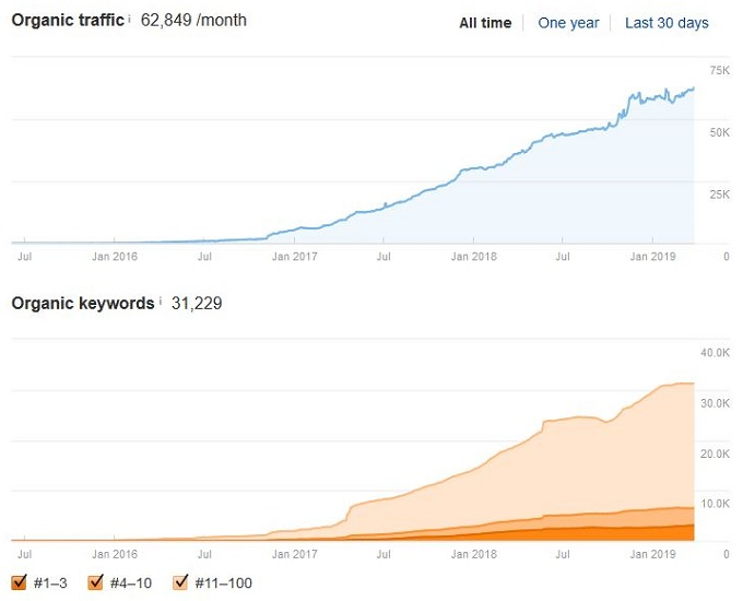 Ahrefs organic traffic growth case study