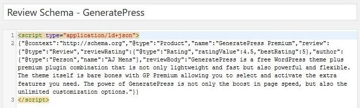 Review Schema markup JSON-LD script