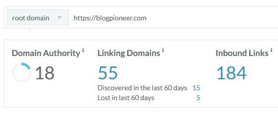 Blog Pioneer backlinks report Moz