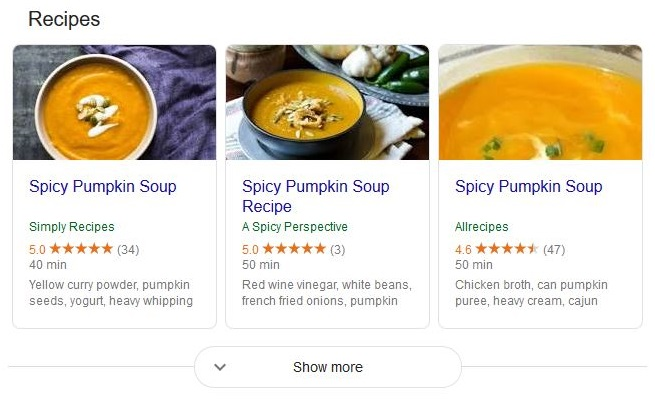 Recipe list in search results