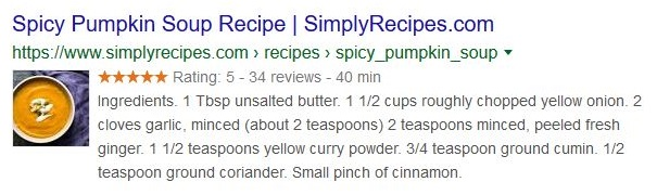 Recipe card in search results