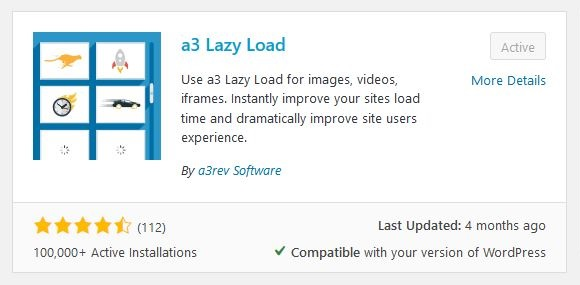 a3 Lazy Load plugin in WordPress