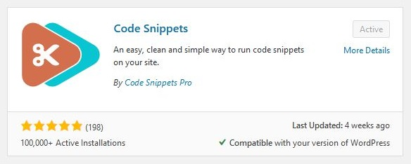 Code Snippets WordPress plugin