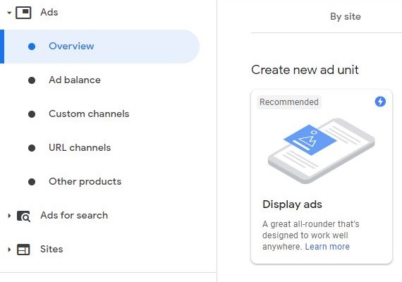 Create new AdSense display ad