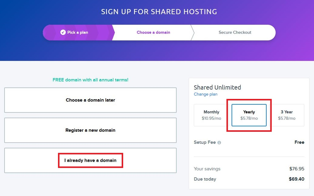 DreamHost WordPress blog hosting step 2