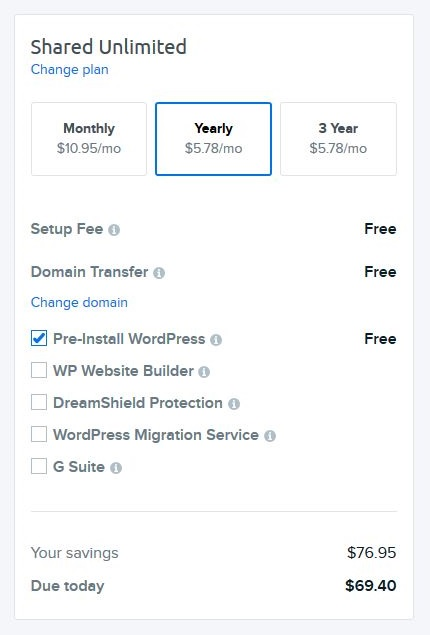 DreamHost WordPress blog hosting step 4