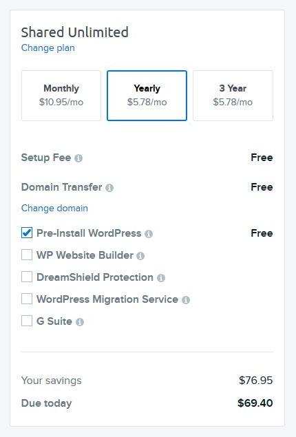 DreamHost WordPress blog hosting step 4