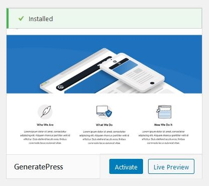 Activate the GeneratePress WordPress theme