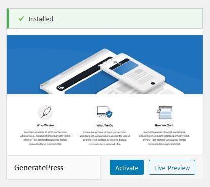 Activate the GeneratePress WordPress theme