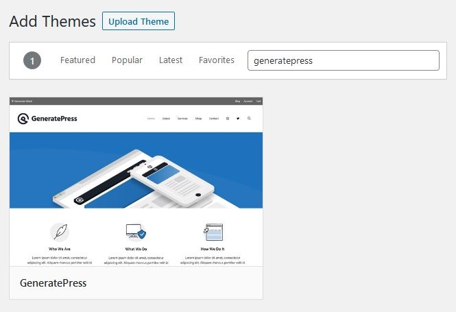 Install the GeneratePress WordPress theme