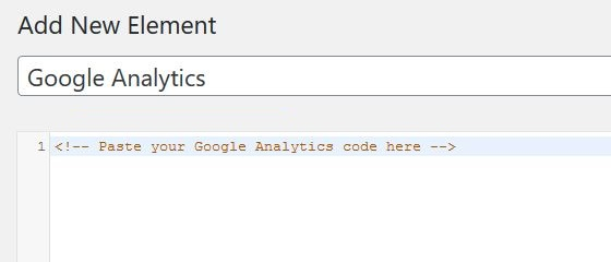 Paste Google Analytics tracking code in Hook editor