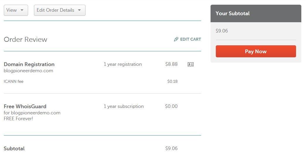 Namecheap domain registration step 5
