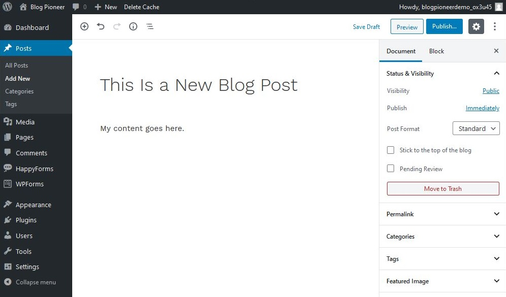 Add a new Blog Post in WordPress