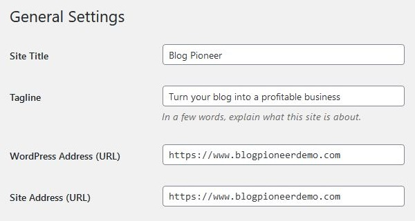 General WordPress settings