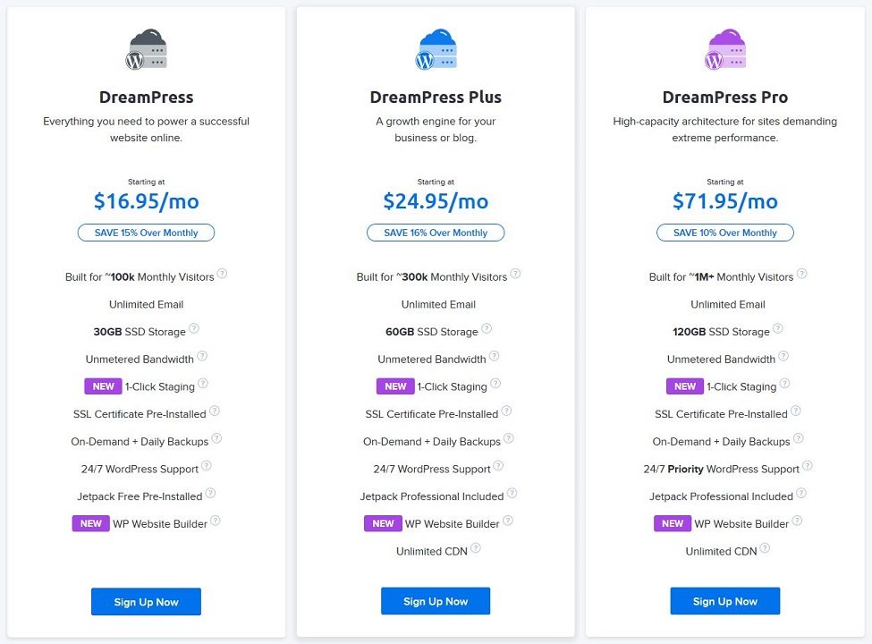 DreamHost DreamPress hosting plans