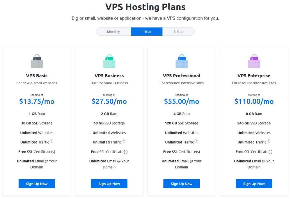 DreamHost VPS hosting plans