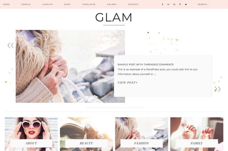 Glam feminine WordPress theme