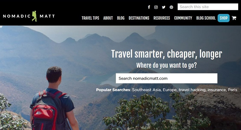 Nomadic Matt travel blog name