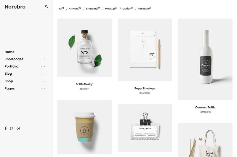 Norebro portfolio WordPress theme