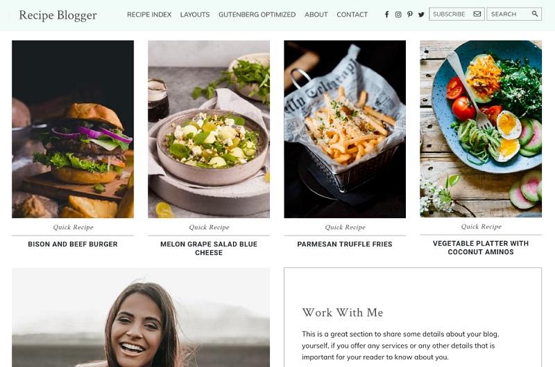 Recipe Blogger photography theme