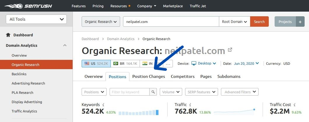 SEMrush position changes report step 4