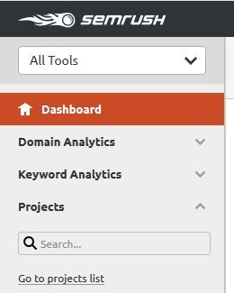 SEMrush position tracking - create project