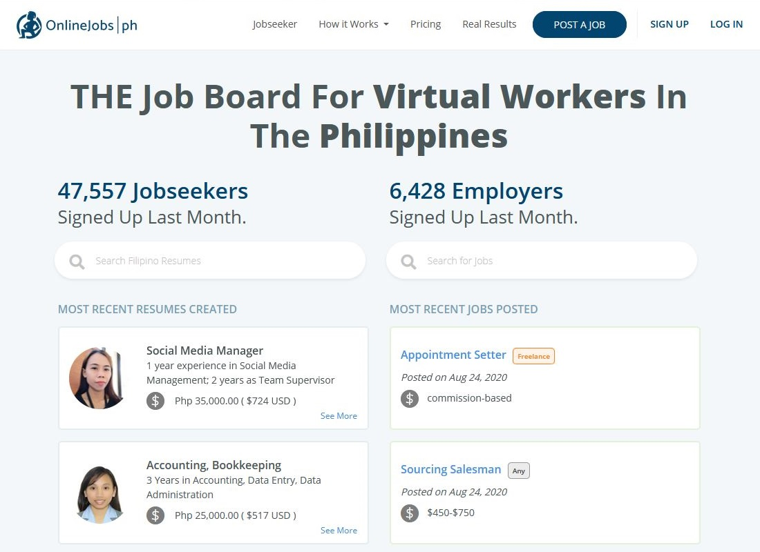 Homepage of OnlineJobs.ph