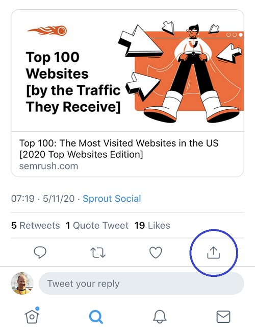 Copy link to Tweet on Twitter app