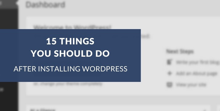 Things to do after installing WordPress