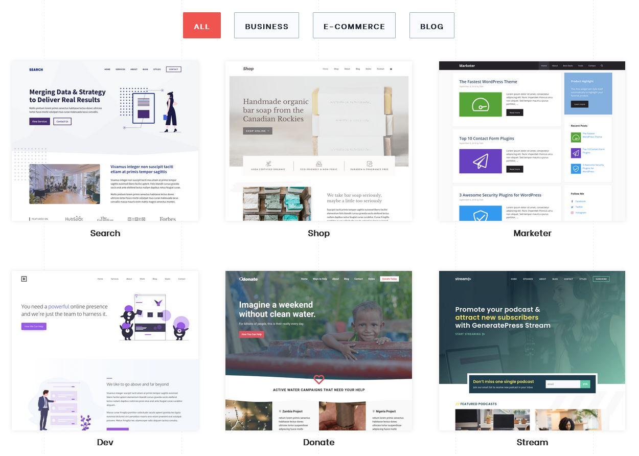 GeneratePress site library