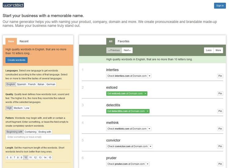Wordoid blog name generator